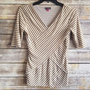 Vince Camuto Metallic Gold White Striped Top XS